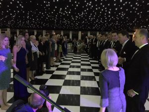 A corporate ceili in a marquee